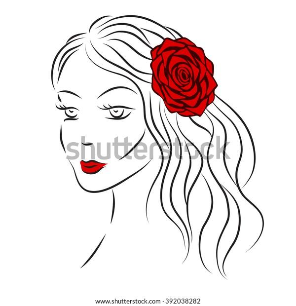 Girl Rose Her Hair Tshirt Graphics Stock Vector Royalty