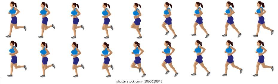 Girl Run cycle animation sprite sheet