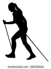 girl runner skyrunner with trekking poles running uphill black silhouette
