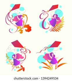 girl running with a kite, summer activities, set of fout cartoon vector illustrations