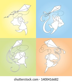 girl running with a kite, summer activities, set of fout outline cartoon vector illustrations