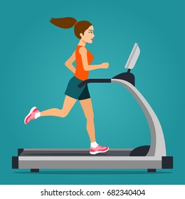 Girl running on treadmill isolated. Vector flat style  illustration.