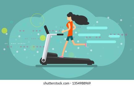 Girl running on treadmill trendy color flat style banner. Vector illustration.