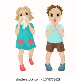 The girl runs from the fire, saves lives. The boy is frightened, screaming with fear, afraid of the incident. Children learn life safety. Vector cute characters on a white background.