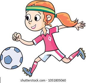 girl runs and plays football
