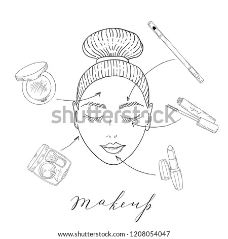 Girl S Face Eyes Closed Makeup Stock Vector Royalty Free