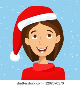 Girl in Santa hat with snow. Merry Christmas! Flat cartoon style vector illustration.