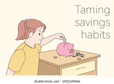 The girl is saving money in a piggy bank. hand drawn style vector design illustrations.