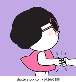 Girl Say Greeting And Giving A Fist Bump Concept Card Character illustration