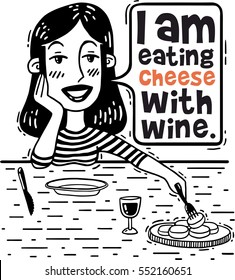 girl says that eating cheese with wine comics