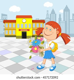 Girl schoolgirl with a bouquet in hand walking to school. Vector illustration.