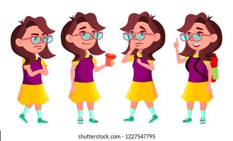 Girl Schoolgirl Kid Poses Set Vector.   Isolated Cartoon Illustration