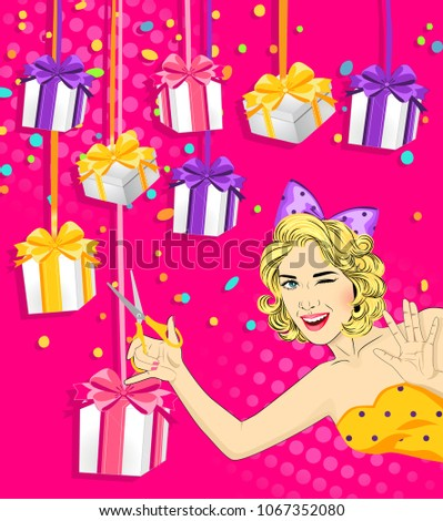 Girl Scissors Cuts Gift Ribbon Advertising Stock Vector Royalty