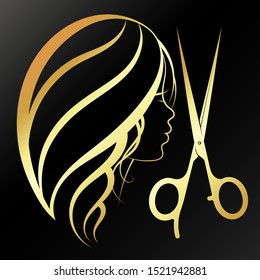 Girl and scissors golden silhouette for a beauty salon and a hairdresser