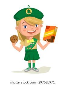 Girl scout. Vector flat cartoon illustration
