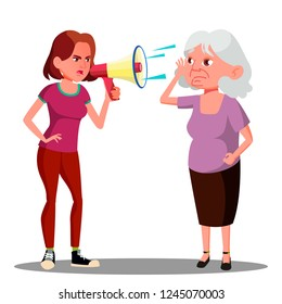 Girl Screaming To Hearing Impaired Elderly Woman Vector. Isolated Cartoon Illustration