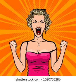 Girl screams loudly or young woman in rage. Pop art retro comic style. Cartoon vector illustration