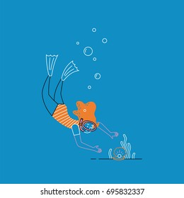 Girl scuba diving under the sea. Vector illustration.