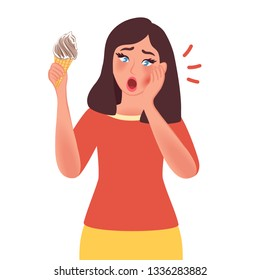 Girl with sensitive teeth and cold ice cream on white background. Vector illustration of people with toothache