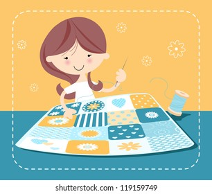 Girl Sewing Patchwork Quilt