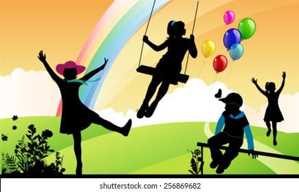 Girl shakes on a swing, children around