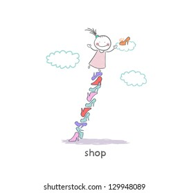 A girl in a shoe shop. Illustration.