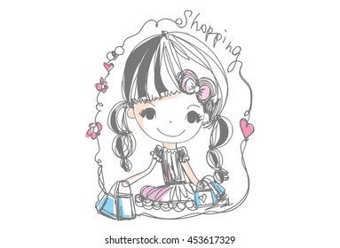 girl shopping, with shopping bag, cartoon look vector file, cute child shopping vector illustration