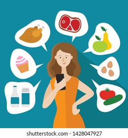 Girl shopping for food online. Housewife holding a phone in her hand. Around it images food. Vegetables,fruits, milk,eggs, cake, chicken and meat. Flat vector