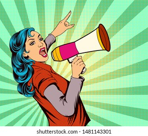 The girl shouted loudly, put a megaphone.Pop art retro comic book cartoon drawing illustration kitsch vintage.The image is separate from the background.