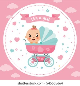 It's a Girl shower card. Invitation template with cute baby in a buggy. Labels with letters and kids illustration.