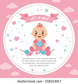 It's a Girl shower card. Invitation template with cute baby with candy. Labels with letters and kids illustration.