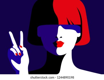 Girl showing victory sign. Abstract female close-up portrait. Vector illustration