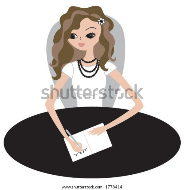 girl signing a card, or writing a letter