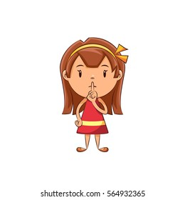 Girl silence gesture