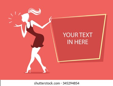 Girl Silhouette with advertising board  - Vector illustration