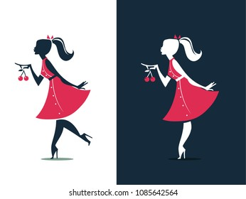 Girl Silhouette with charries - illustration