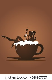 Girl silhouette having a bath in a cup of coffee with a man silhouette with champagne and glasses