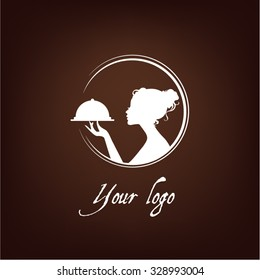 girl silhouette logo, confectionery, cookery