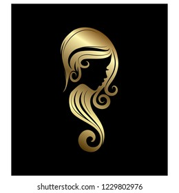 girl silhouette with long hair in form of S vector illustration color  gold