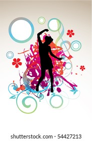 girl silhouette on modern background,vector