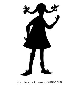 Girl silhouette in style of Pippi Longstocking. Black contour isolated on white background. Pigtails hairstyle, short dress, big shoes. Literature cartoon characters. Hand up, hello. For prints,poster