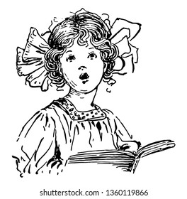 Girl Singing & Holding Chorus Book where a young girl holding a chorus book and singing, vintage line drawing or engraving illustration.
