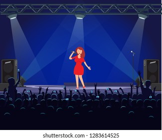 Girl singing with microphone on stage with light effect and big speaker. Woman in dress on dark stage, fans recording performance in cartoon style vector