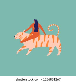 Girl siting and hugging a tiger illustration in vector. Tropical animal and people friendship.