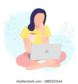 A girl sits in a bed and works on a laptop. Home Office. Work at home or freelance. A young woman is studying at home. Freelancer lifestyle. Home schooling. Vector illustration in a flat style.