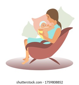 Girl sits in a chair. A woman breastfeeds a child. Young mother with baby. vector flat ilustracation. Mother's Day. the benefit of breast milk.