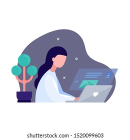 A girl sits at a laptop and writes an article. Concept of blogging and journalism. Blog or write articles for various publications. Copywriter's desktop. Internet surfing. Reading news