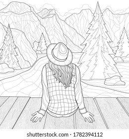 The girl sits on the bridge and looks at the mountains. Landscape.Coloring book antistress for children and adults. Zen-tangle style.Black and white drawing