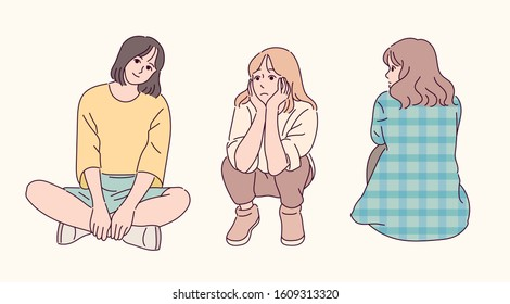 A girl sits on the floor in lotus bridge pose. A girl is sitting on the floor with her chin on A girl is sitting with her back turned. hand drawn style vector design illustrations.