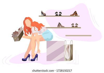 Girl Sits At A Rack With Shoes And Tries On Shoes vector illustration from shopping collection. Flat cartoon illustration isolated on white